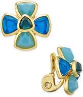 Charter Club Gold-Tone Blue Stone Floral Clip-On Earrings, Only at Macy's