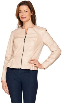 G.I.L.I. Got It Love It G.I.L.I Peplum Faux Leather Zip Front Jacket