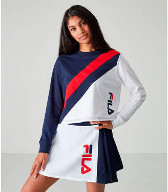 Fila Women's Akeya Long-Sleeve Crop T-Shirt
