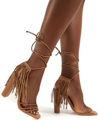 Public Desire Uk Venga Light Tassel Tie Up Heels