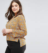 Rage Plus Long Sleeve Chiffon Floral Print Blouse With 3/4 Sleeve