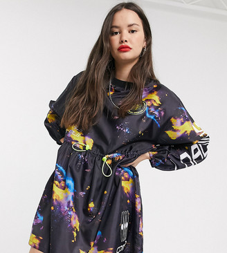 Collusion galaxy nylon smock dress with contrast toggles
