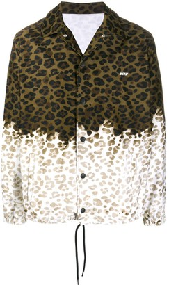 MSGM Leopard-Print Two-Tone Shirt-Jacket