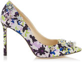 Jimmy Choo JAZZ 100 Apple and Lilac Camoflower Print Satin Pointy Toe Pumps with Jewelled Buttons