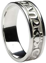 BORU Ladies Mo Anam Cara Irish Wedding Band 10k White Gold Size 7