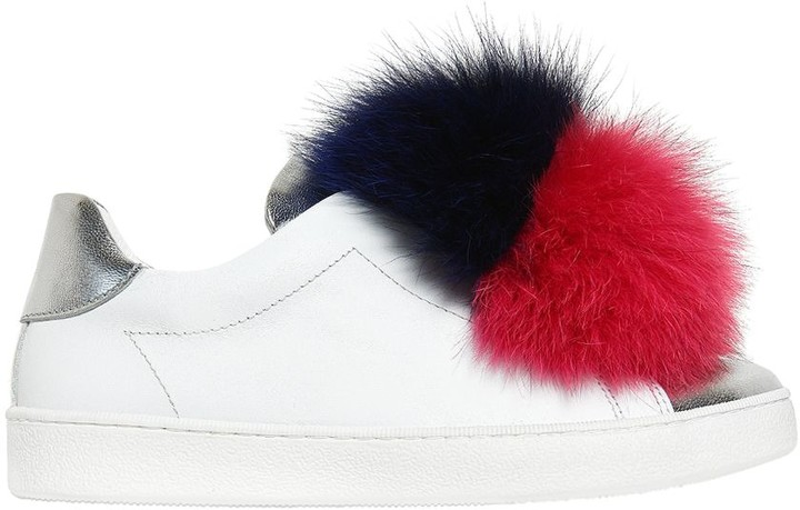Joshua Sanders Nappa Leather Slip-on Sneakers W/ Fur