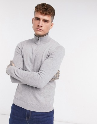 Topman knitted half zip turtle neck jumper in grey