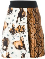 Fausto Puglisi horse and snake print skirt
