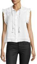 Zadig & Voltaire Cory Cotton Ruffled Top, White