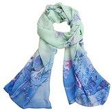 Datework Chiffon Soft Neck Scarf Shawl Scarves Stole Wraps (Blue)