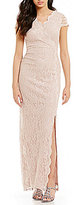 Sangria V-Neck Cap Sleeve Scalloped Lace Gown