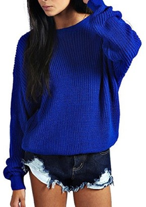 Crazy Girls Womens Ladies Baggy Long Sleeve Knitted Plain Chunky Top Sweater Jumper S-XL Beige