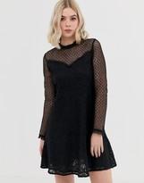Brave Soul spot mesh skater dress