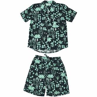 Phriya Men's Navy Blue Circe's Garden Short Pajama Set