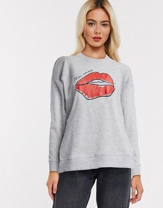 New Look motif sweatshirt in grey