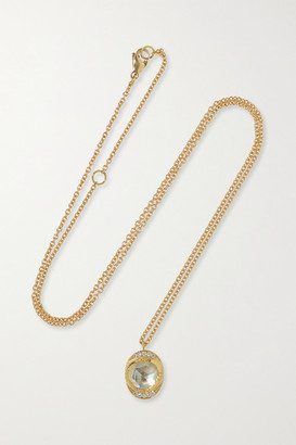 Brooke Gregson Orbit Halo 18-karat Gold, Moonstone And Diamond Necklace - one size