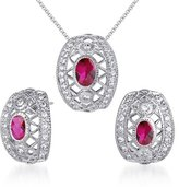 Peora Created Ruby Pendant Earrings Necklace Sterling Silver Rhodium Nickel Finish Oval Cut 2.00 Carats