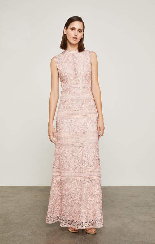 BCBGMAXAZRIA Scrolling Lace Gown