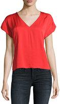 Milly V-Neck Seamed Stretch-Silk Blouse, Red