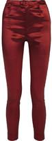 Isabel Marant Nevada Stretch-taffeta Skinny Pants - Claret