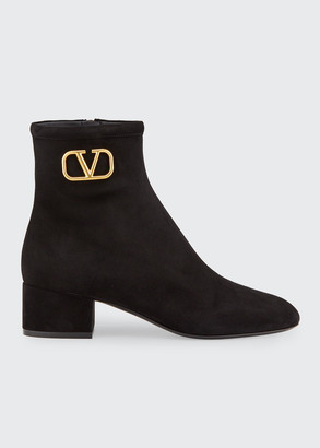 Valentino VLOGO Suede Ankle Booties