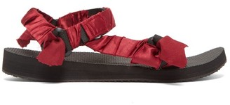 Arizona Love - Trekky Satin-wrapped Velcro-strap Sandals - Womens - Burgundy