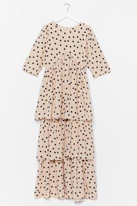Nasty Gal Womens I'm Out of Tier Polka Dot Maxi Dress - White - 6, White