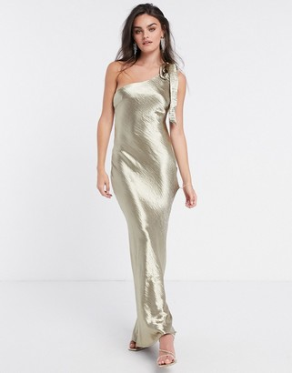 Pretty Lavish satin one shoulder bow tie maxi dress in liquid gold