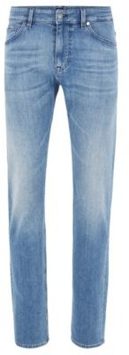 HUGO BOSS Regular Fit Jeans In Bright Blue Cashmere Touch Denim - Turquoise