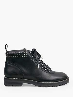 Hush Bibury Leather Lace Up Ankle Boots, Black