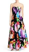 Ellen Tracy Women's Floral Print Strapless Gown