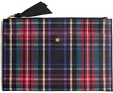 J.Crew Large Stewart Plaid Italian Leather Pouch
