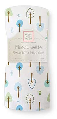Swaddle Designs Marquisette Swaddling Blanket, Premium Cotton Muslin, Cute & Calm, True Blue