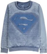 Little Eleven Paris Superman Embroidered Burnout Sweatshirt