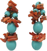 One Kings Lane Vintage Coral & Faux-Turquoise Dangle Earrings