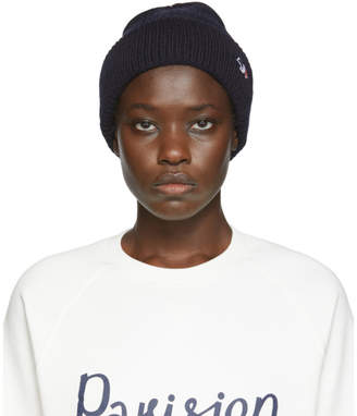 MAISON KITSUNÉ Navy Ribbed Tricolor Fox Patch Beanie