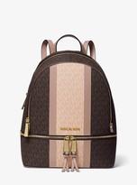 MICHAEL Michael Kors Rhea Medium Striped Logo and Leather Backpack