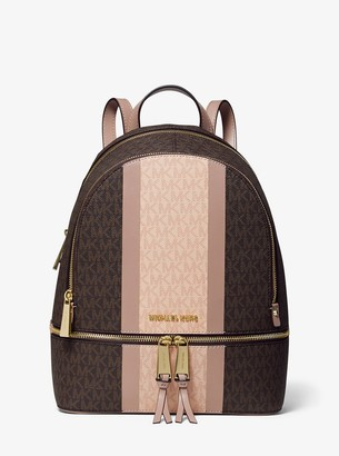 MICHAEL Michael Kors Rhea Medium Striped Logo and Leather Backpack