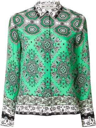 Alice + Olivia Willa Boho Romance-print silk shirt