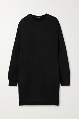 R 13 Grunge Oversized Cotton-blend Mini Dress - Black
