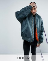Reclaimed Vintage Inspired Super Oversized Bomber Jacket In Blue With Taping