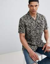 Antony Morato Revere Collar Short Sleeve Shirt In Black With Leaf Print