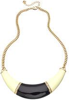 Carolee Gold Crystal Black and White Enamel Crescent Pendant Necklace