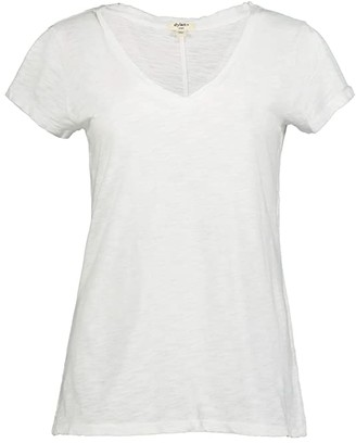 Dylan by True Grit Soft Slub Cotton Classic V-Neck Tee (White) Women's Clothing