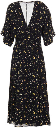 Reformation Karen Floral-print Crepe De Chine Midi Wrap Dress