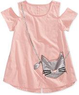 Jessica Simpson Cat Cold-Shoulder Purse T-Shirt, Big Girls (7-16)