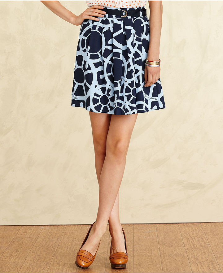 Tommy Hilfiger Skirt, A-Line Printed Belted