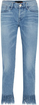 3x1 Stella Cropped Frayed Mid-rise Slim-leg Jeans - Mid denim