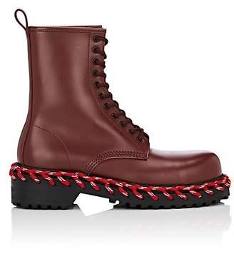 Balenciaga Women's Leather Combat Boots - Wine