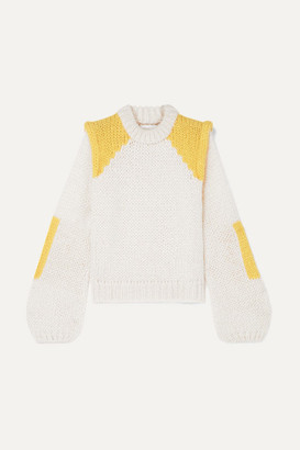 Ganni Color-block Mohair And Wool-blend Sweater - Ivory
